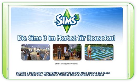 Die Sims 3 für Konsole