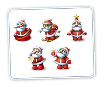 free-icons-mit-suessen-weihnachtsmaennern