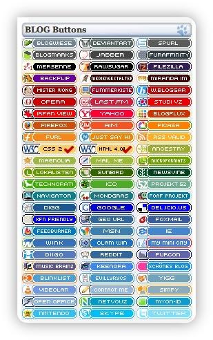 Blogbuttons farblich sortiert