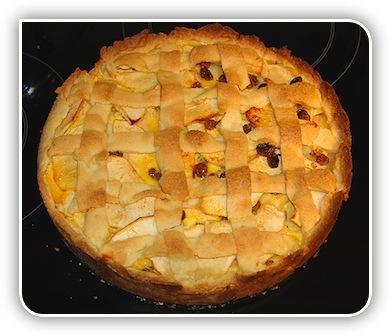 Apfelkuchen mit Zimt und Rosinen