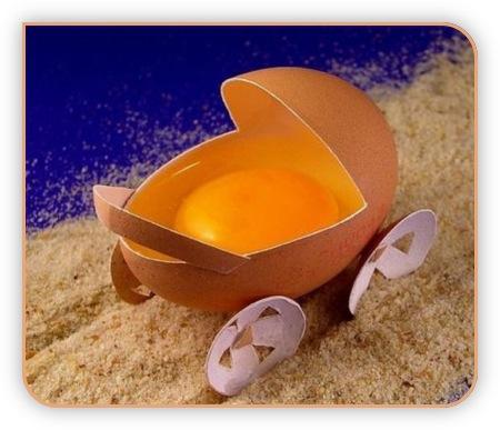 Ein Ei als Kinderwagen