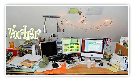 Schreibtisch vorher