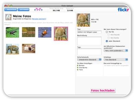 Screen vom Flickr Uploadr