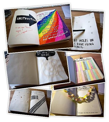 die ersten 5 Seiten von meinem Wreck this Journal
