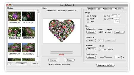 Shape Collage - auf dem Bild ist ein Screenshot des Programmes zu sehen