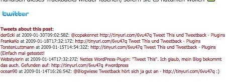 Tweet this Plugin im einsatz - zu sehen sind Links zu Tweets die auf diesen Beitrag verweisen