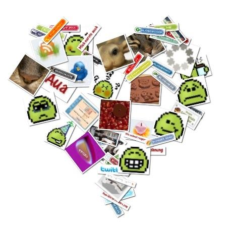 Alle Bilder von der Blogwiesen-Startseite in Form eines Herzes