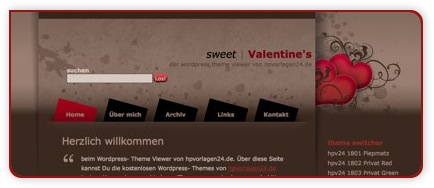 WordPress Theme zum Valentinstag