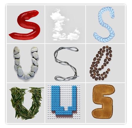 Handmade Fonts - Lego, Tannennadeln, Leder, Kaffeebohnen, Draht, geflochtener Wollfaden, Ketchup, Wolken, Steine