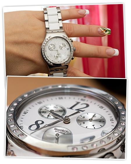 Neue Armbanduhr von Swatch - weiss und metall, Glitzersteinchen am Rand