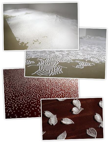 Labyrinth aus Salz und Kirschblüten aus Salz