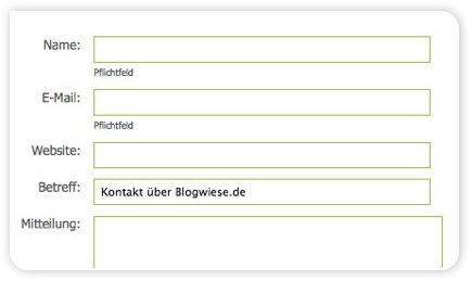 Kontaktformular auf der Blogwiese