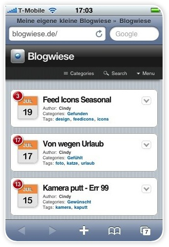 Screen von der Blogwiese mit dem iPhone