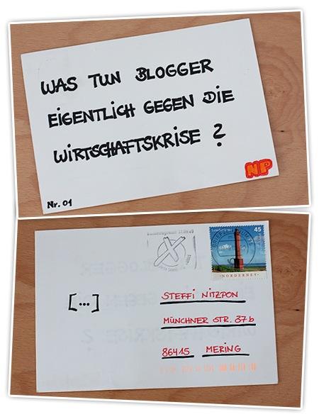 Was tun Blogger eigentlich gegen die Wirtschaftskrise? - Postkarte - Anonym