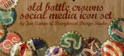 Social Media Icons - Kostenlos - in Form von alten Kronkorken