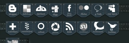 Social Media Icons im Jeanslook