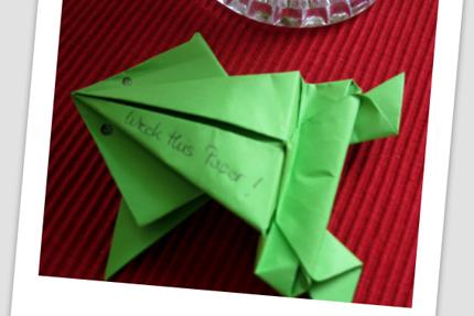 hüpfender Frosch - Origami