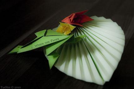 Frosch mit Lilienblüten - Origami