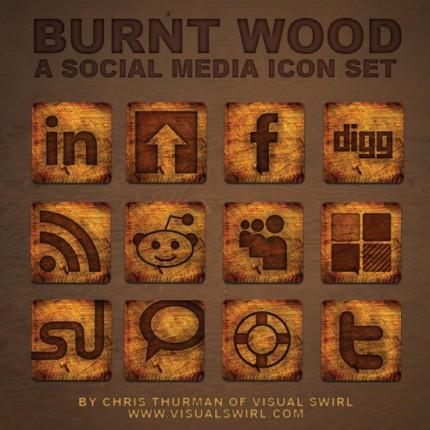 Social Media Icons im verbrannten Holzlook