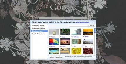 Google mit Hintergrundbild