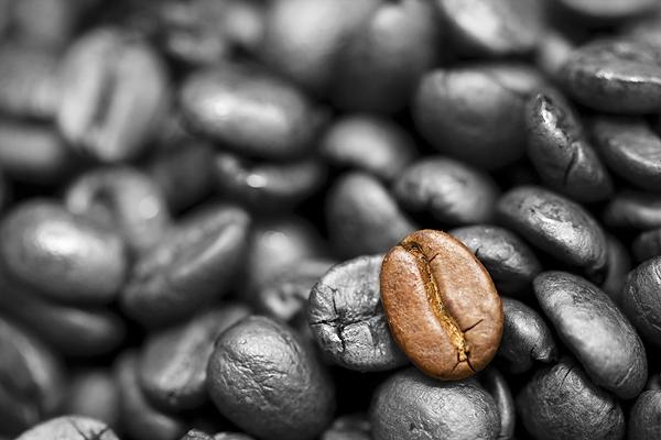 Kaffee - Kaffeebohnen - Makro - Colorkey